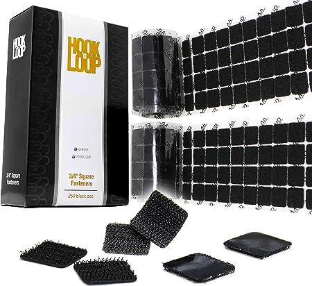 Black Hook 'n Loop Adhesive Fastening 3/4 Inch Square Decal Set 500 pcs (250 Pack)