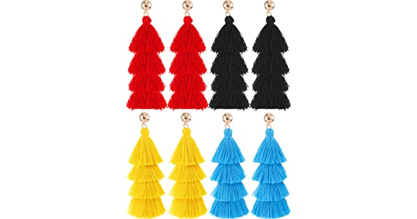 8e7f8b89f28fba Hestya 4 Pairs Tassel Earrings Handmade 4 Layers Elegant Tassel Drop  Earrings for Women Girls Accessories (Black, Blue, Red and Yellow) | Amazon