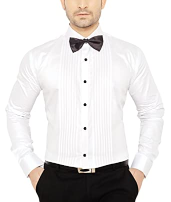 GlobalRang Men's Tuxedo Cotton White Shirt With Bow: Amazon.in ...