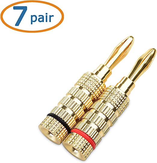 Cable Matters 7 Pairs Crimp and Twist Closed Screw Banana Plugs for Speaker Wire Made of Bare Copper for Distortion-Free Audio