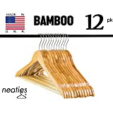 Natural Bamboo Wood Hangers w/ Notches and Non-Slip Bar for Eco-Friendly Closet, Highest Quality Bamboo Hangers, Set of 12