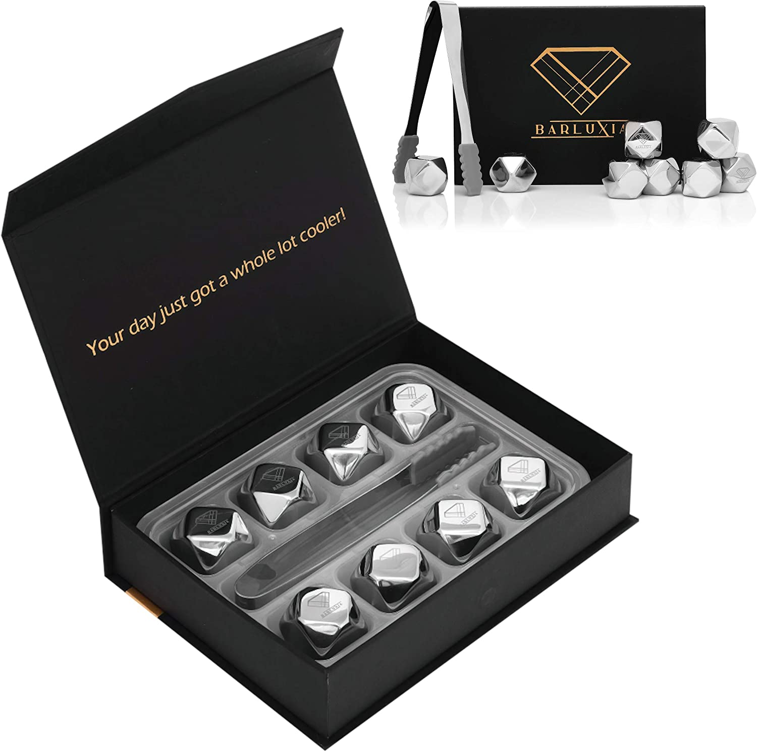 Barluxia Stainless Steel Ice Cube Gift Set of 8 Polygon Reusable Metal Ice Cubes, Ice Tongs & Storage Tray - Whiskey Rocks/Chilling Stones for Whiskey, Wine, Cocktails or any Drinks
