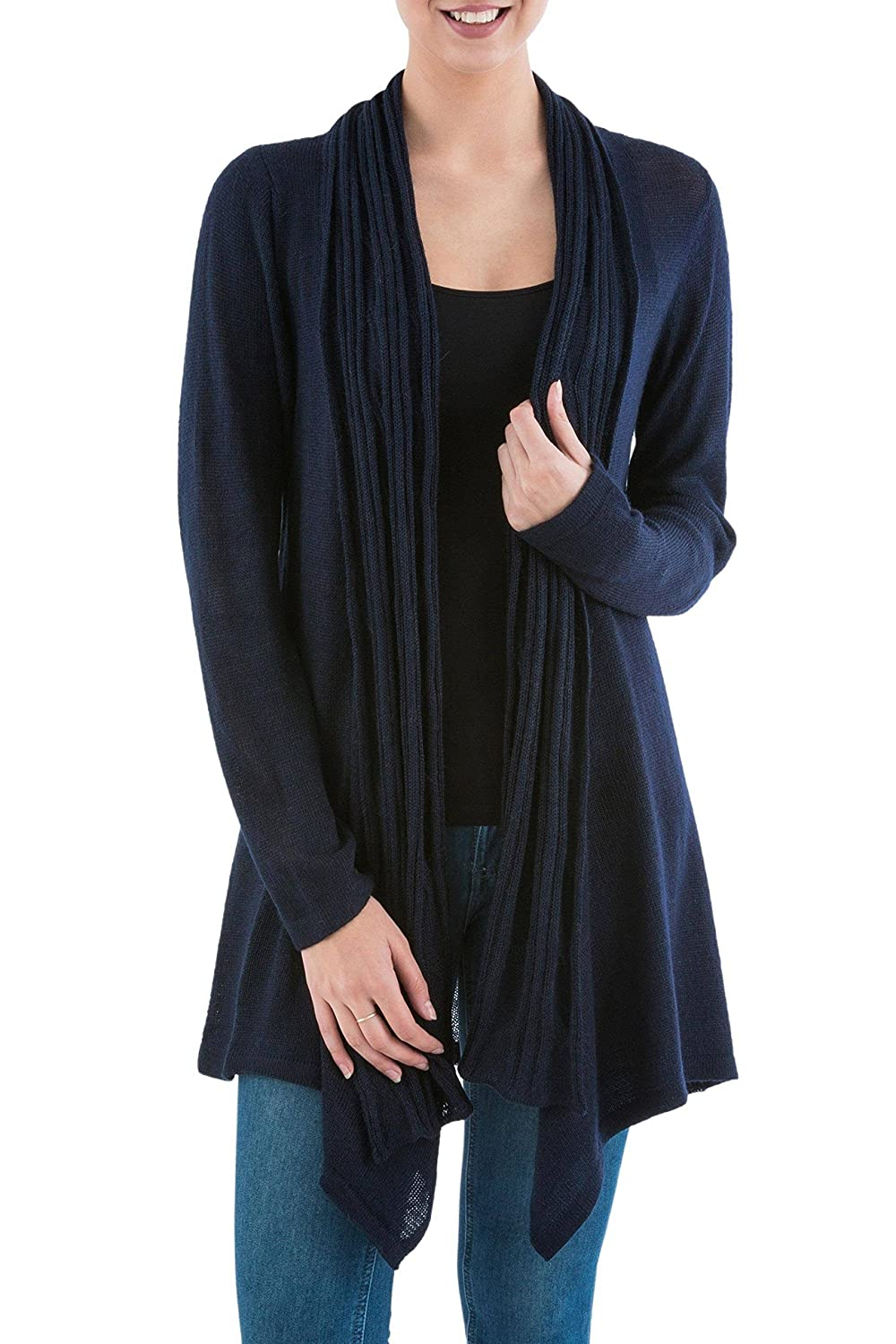NOVICA Blue 10/% Alpaca Wool Long Sleeves Cardigan Sweater Waterfall Dream