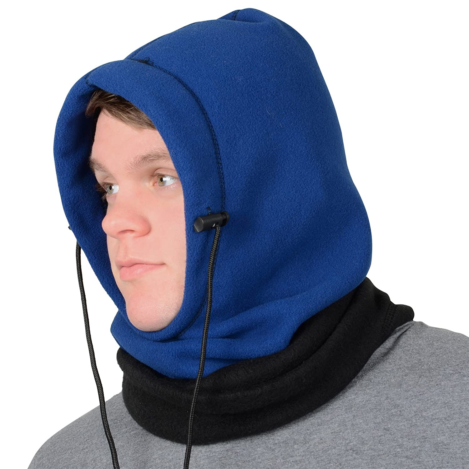 Adults 6 In 1 Polar Fleece Hood Snood Balaclava Winter Warmer Ski Hat Scarf Mask XSS