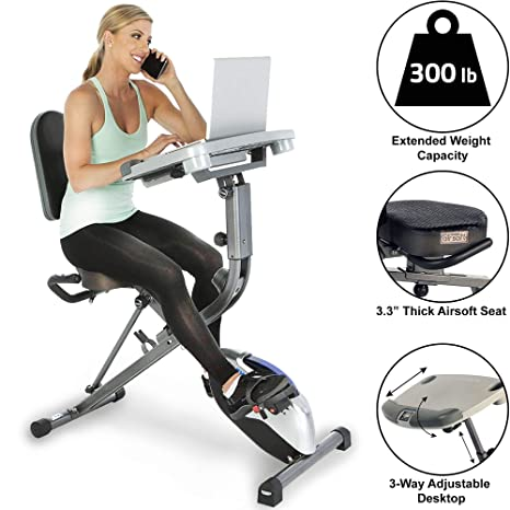Cool Exerpeutic Workfit 1000 Fully Adjustable Desk Folding Exercise Bike With Pulse Beutiful Home Inspiration Papxelindsey Bellcom