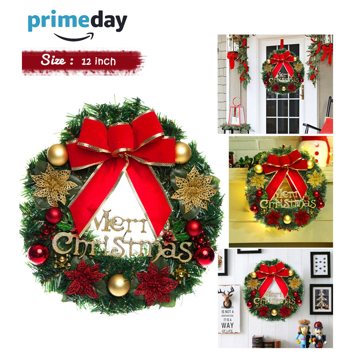 Christmas Wreath, Merry Christmas Decorated Pine Wreath , Artificial Flower Wreath Garland Door Decorative Hanging Christmas Wreaths Garland for Home Decorationwiyh Bowknot, Bells, Bristles, Cone, Red