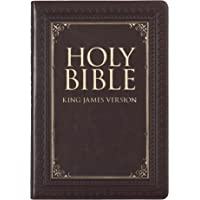 KJV Holy Bible, Thinline Large Print Bible, Brown Faux Leather Bible w/Thumb Index and Ribbon Marker, Red Letter Edition, King James Version
