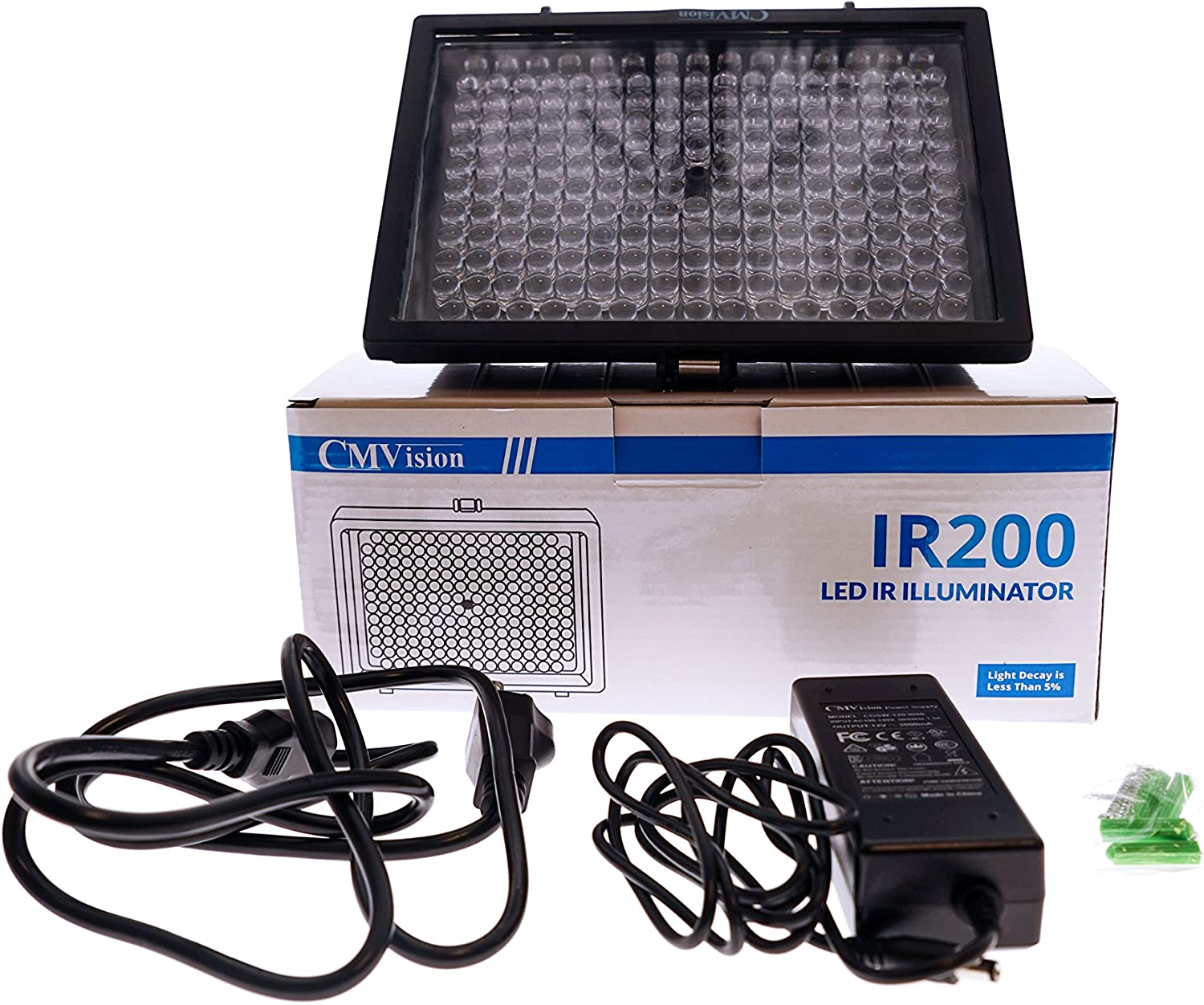 Renewed CMVision IR110-114 LED Indoor//Outdoor Long Range 200-300ft IR Illuminator With Free 2A 12VDC Adaptor ( New Version has LUX ON /& OFF Switch