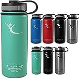 Trinkflasche ACTIVE FLASK von BeMaxx Fitness + 3 Verschlüsse – Vakuum-isolierte Edelstahl Thermosflasche | BPA frei - 1l & 0,5 Liter | Wasserflasche für Büro, Sport, Schule, Kinder, Fahrrad, Outdoor