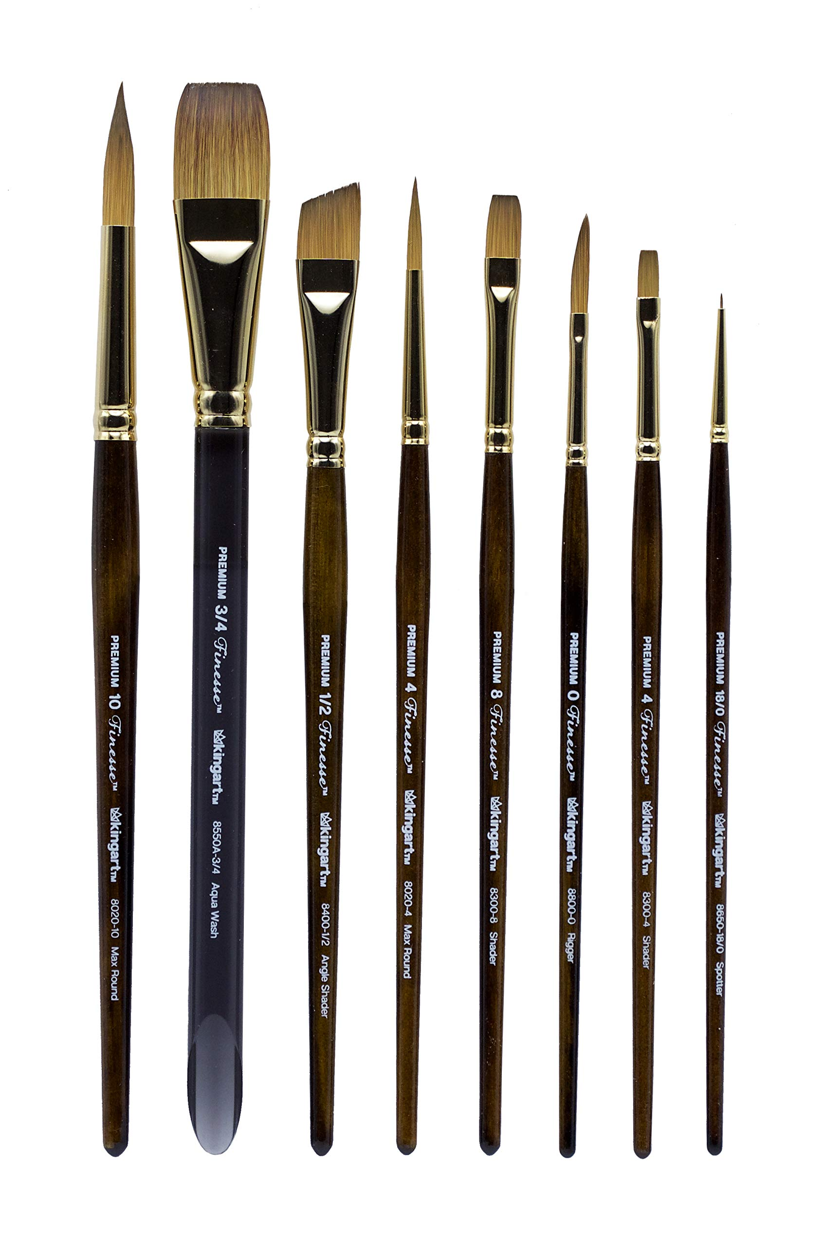 KINGART 1010A Finesse-Synthetic KOLINSKY Sable-Set of 8 Paint Brush Set, Assorted, Gold, Brown by KINGART