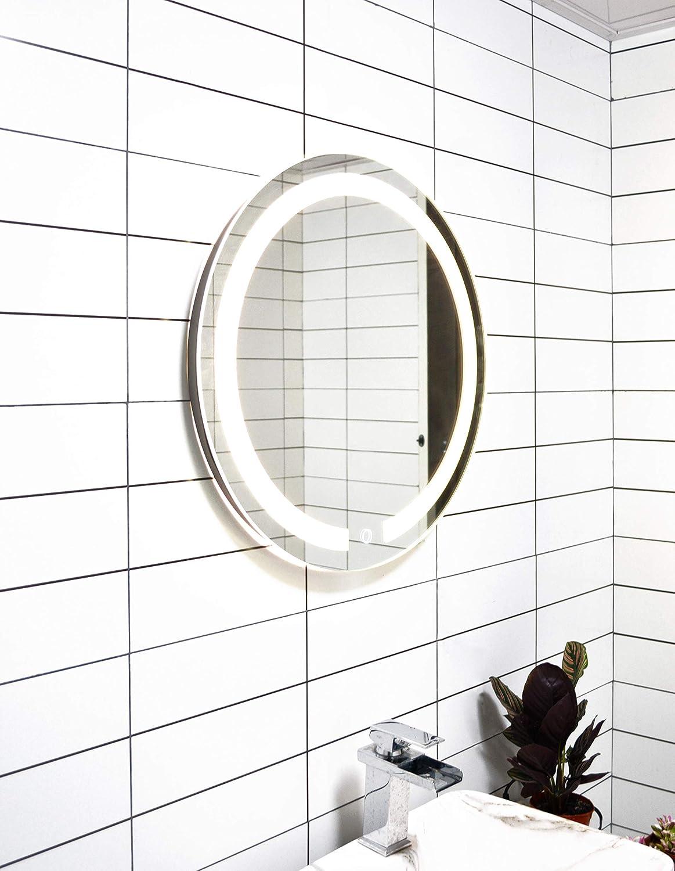 Dia:27.6 DIYHD Diameter 28inch Wall Mount Round Led Lighted Bathroom Mirror Vanity Defogger Lights Touch Light Mirror