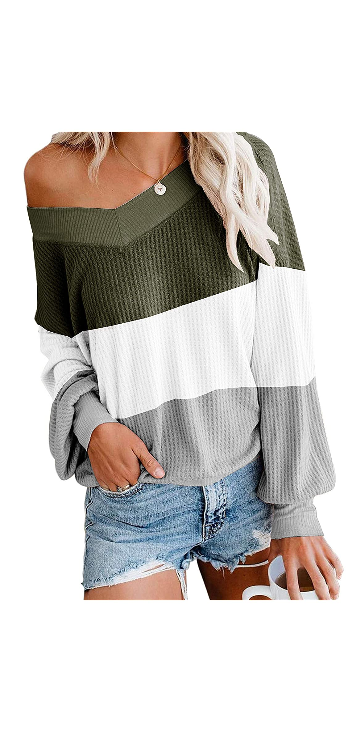 Women's Off Shoulder Sweater Colorblock Batwing Sleeve