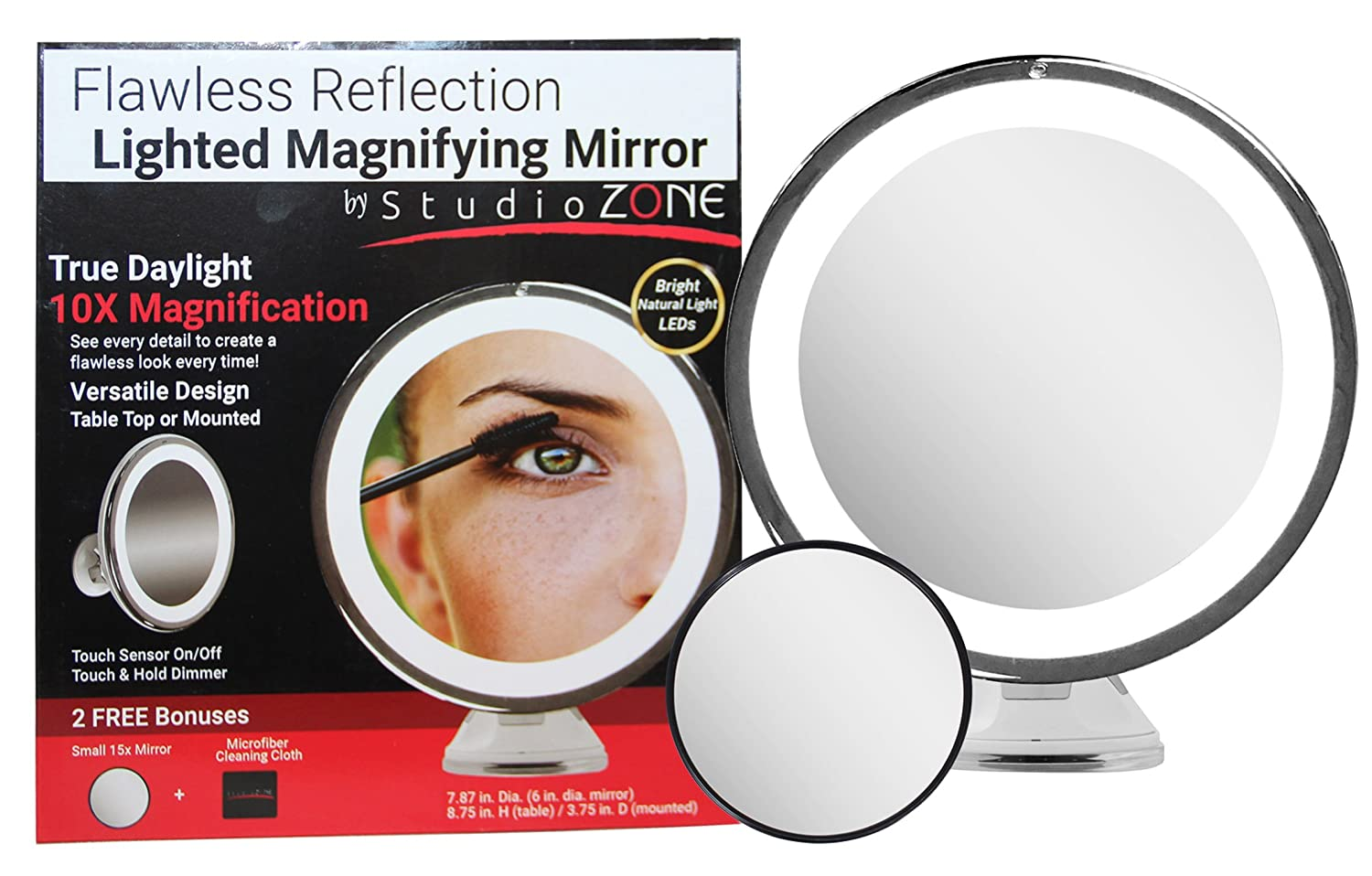 Amazon lighted makeup mirror 10x magnifying with true amazon lighted makeup mirror 10x magnifying with true daylight led mount or table top touch dim cordless home or travel vanity bathroom set w amipublicfo Choice Image