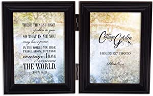 Cottage Garden in Me Have Peace Midnight Black 5 x 7 Wood Hinged Double Tabletop Photo Frame