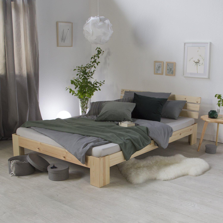 Lit double futon CORSE 180x200 cm en tissu 2 places avec sommier en bois