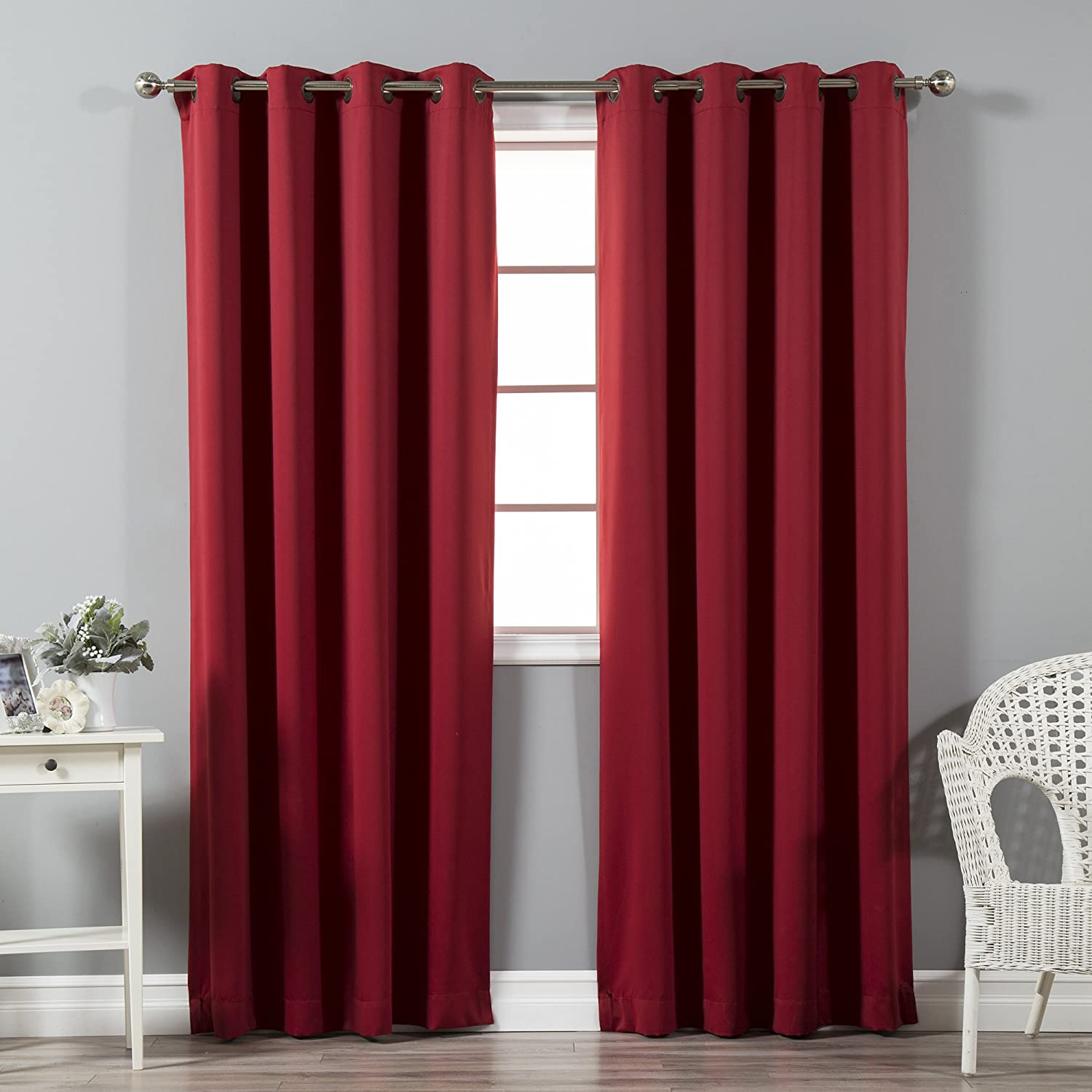 "Best Home Fashion Premium Thermal Insulated Blackout Curtain - Antique Bronze Grommet Top - Cardinal Red - 52"" W x 96"" L - Tie Backs Included (Set of 2 Panels)"