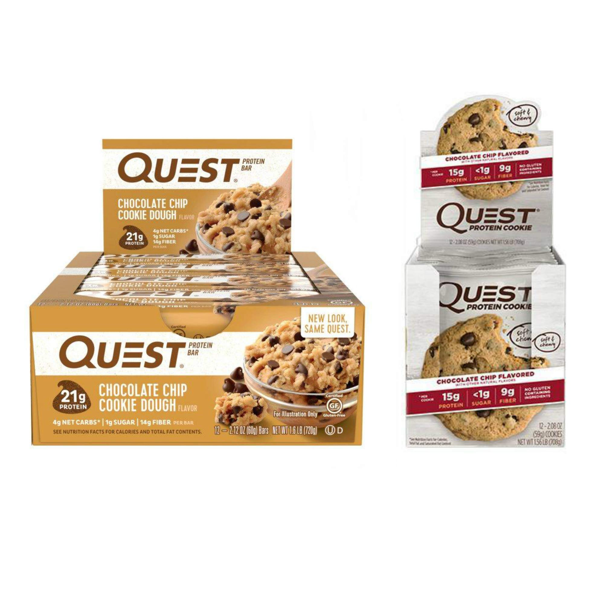 Quest Nutrition New Year New You Bundle - Chocolate Chip. Gluten-Free and Soy-Free Meal Replacement Snacks for Healthy Living. (12 Bars +12 Cookies).