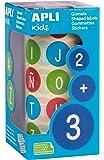APLI Kids - Rollo de gomets redondos, adhesivo removible, letras, 20 mm, multicolores