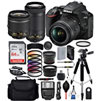 "Nikon D3500 DSLR Camera with 18-55mm Lens, Nikon AF-P 70-300mm Lens and 18PC Accessory Bundle – Includes SanDisk Ultra 64GB SDHC Memory Card + Digital Slave Flash + 57"" Tripod + More"