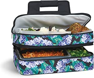 """Picnic Plus 18"""" Casserole Carrier 2 Level Thermal Insulated Hot and Cold Food Carrier Double Layer Food Carrier Bag Potluck Carrier With Bonus Containers (Hydrangea)"""