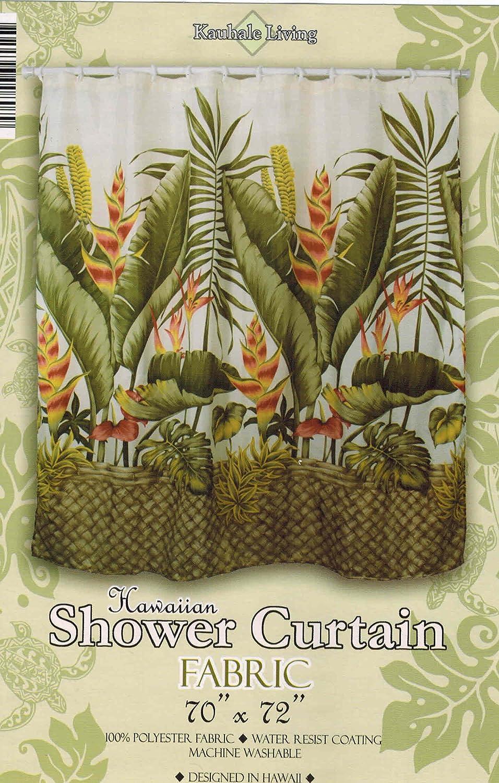 Amazon.com: Hawaiian Tropical Fabric Shower Curtain (Hawaiian Flower ...