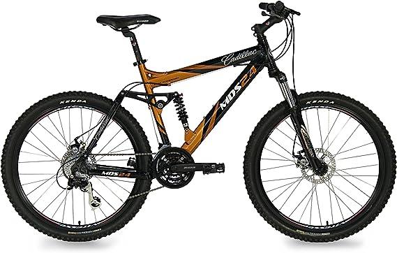 Amazon Com Cadillac Mds 2 4 Men S Mountain Bike Black Burnt Orange Finish 21 Inch Dual Suspension Mountain Bicycles Sports Outdoors