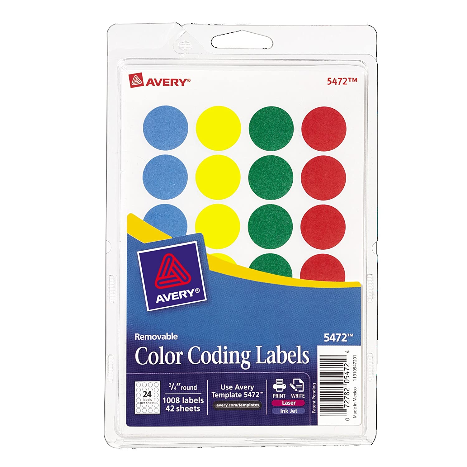 Amazon.com : Avery Removable Print or Write Color Coding Labels, Round,  0.75 Inches, Pack of 1008 (5472) : Add On Items : Office Products