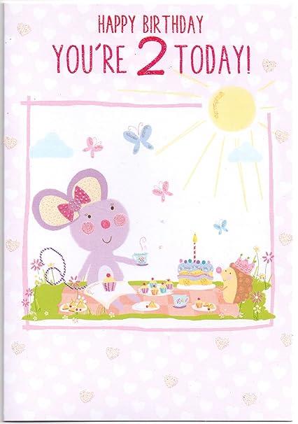 Tarjeta de cumpleaños de los niños para dos (2) años niña ...