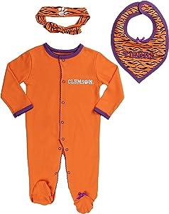 FAST ASLEEP Clemson Tigers Baby Girl (3pc) Footie, Bib and Hat Set