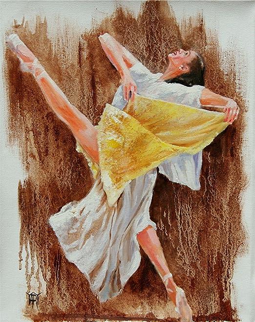 Set of 2 Ballet Dancer Abstract Watercolor Paintings Art Prints Artist DJ Rogers