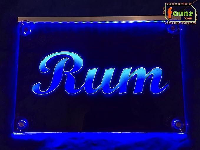 Rum Azul LED Cartel o su texto en promocional Selector de ...
