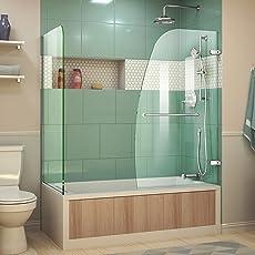 DreamLine Aqua Uno 56-60 in. W x 30 in. D x 58 & Bathtub Sliding Doors   Amazon.com