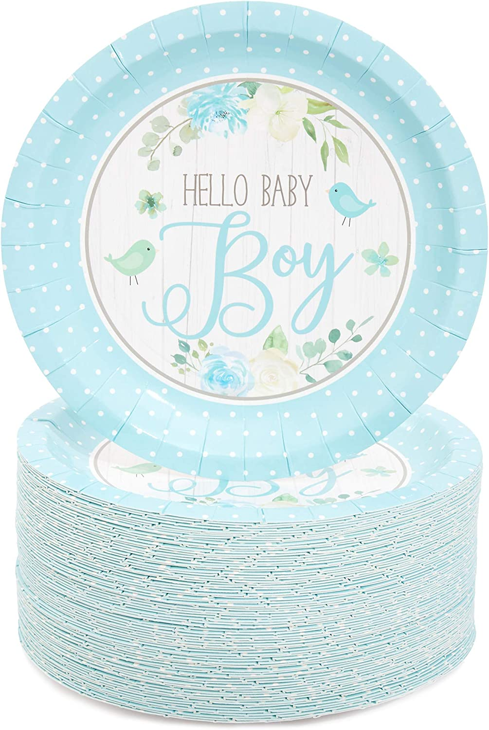 Hello Baby Boy Party Paper Plates 7 inches for Cake Dessert (80 Pack)