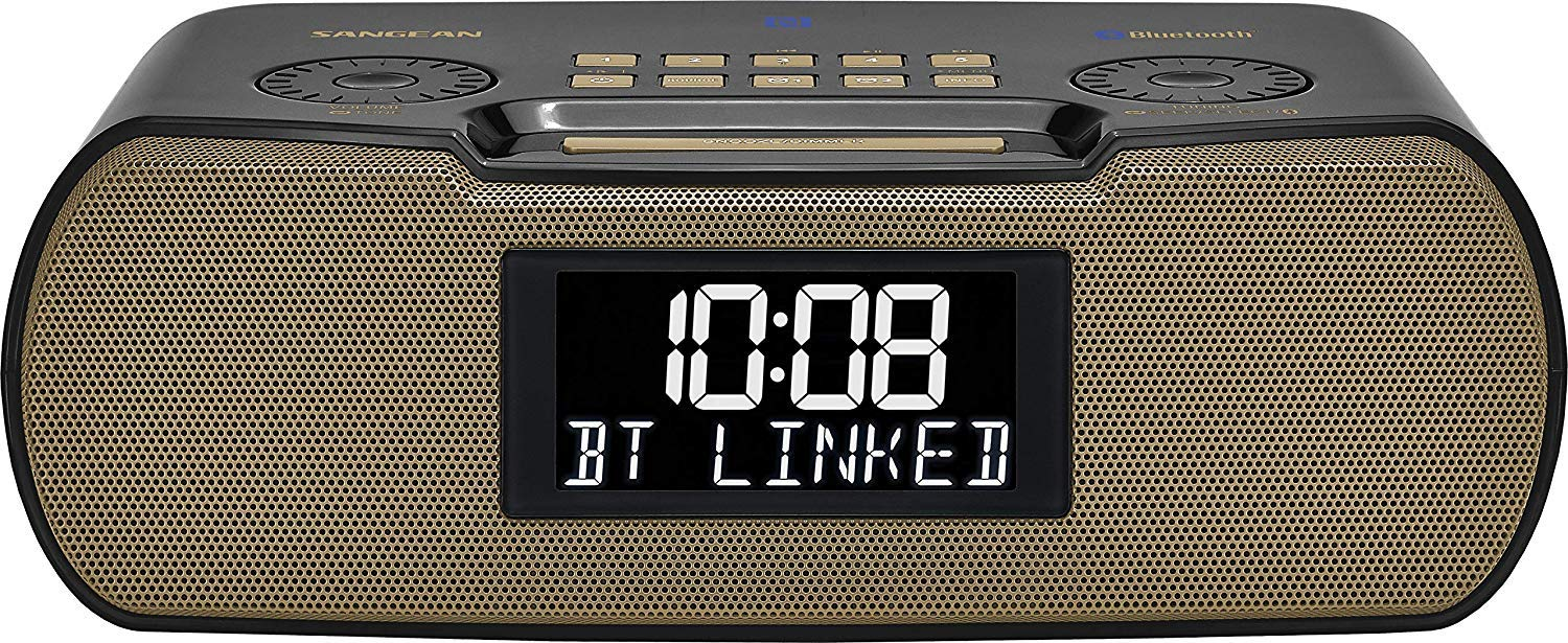 Gray//Gold Sangean RCR-20 FM-RDS RBDS AM//Bluetooth//Aux-in//USB Phone Charging Digital Tuning Clock Radio with Battery Backup