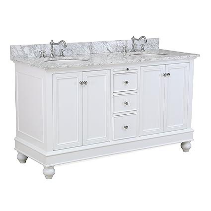 Bella 60 Inch Double Bathroom Vanity (Carrara/White): Includes White Cabinet