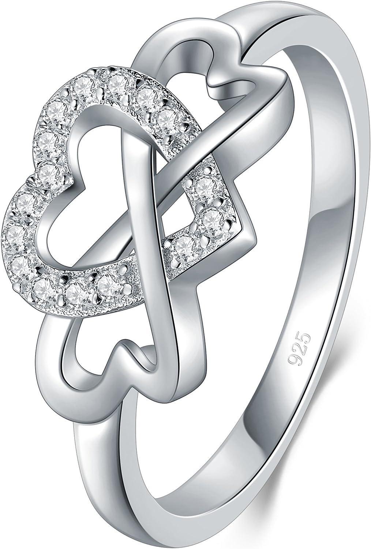 BORUO 925 Sterling Silver Ring, High Polish Cubic Zirconia Infinity...