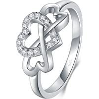 BORUO 925 Sterling Silver Ring, High Polish Cubic Zirconia Infinity and Heart Tarnish Resistant Comfort Fit Ring