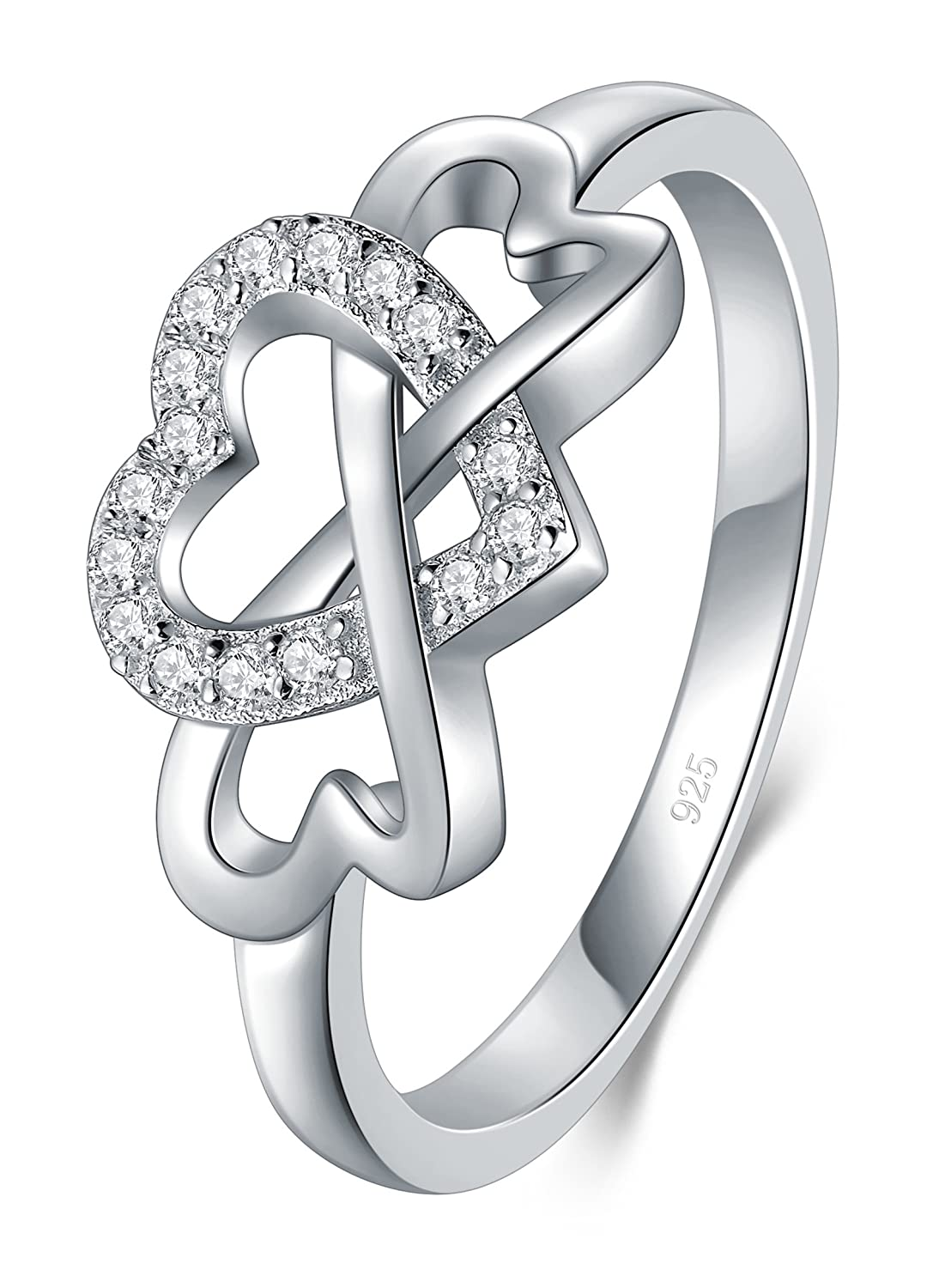 BORUO 925 Sterling Silver Ring, High Polish Cubic Zirconia Infinity and Heart Tarnish Resistant Comfort Fit Ring BRC Creative Corp.