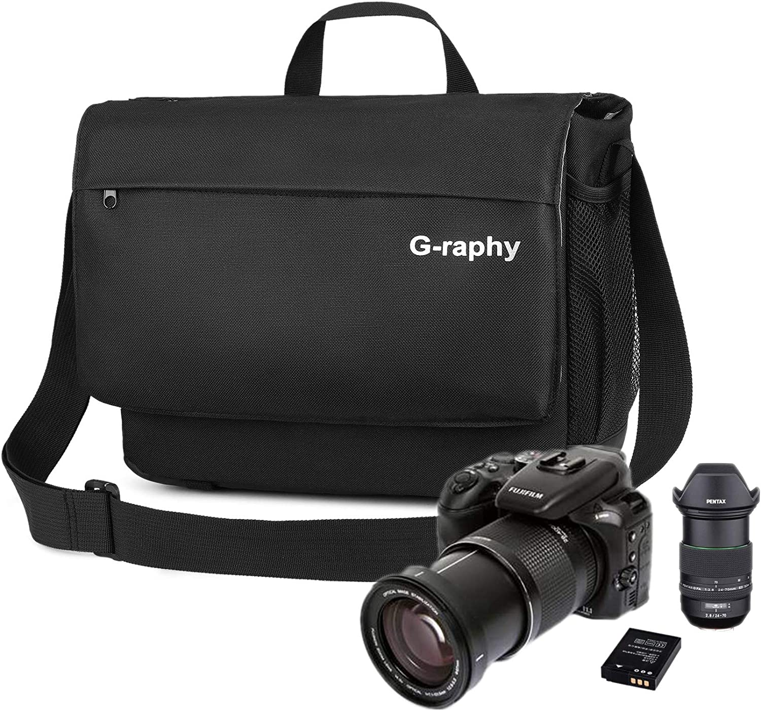 G-raphy Camera Shoulder Bag for SLR/DSLR Digital Cameras 14inch Laptop Canvas Messenger Bag with Camera Insert Sleeve