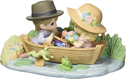 Precious Moments Limited Edition You Make My Heart Leap Couple in Row Boat Bisque Porcelain Home Decor Collectible Figurine 173002