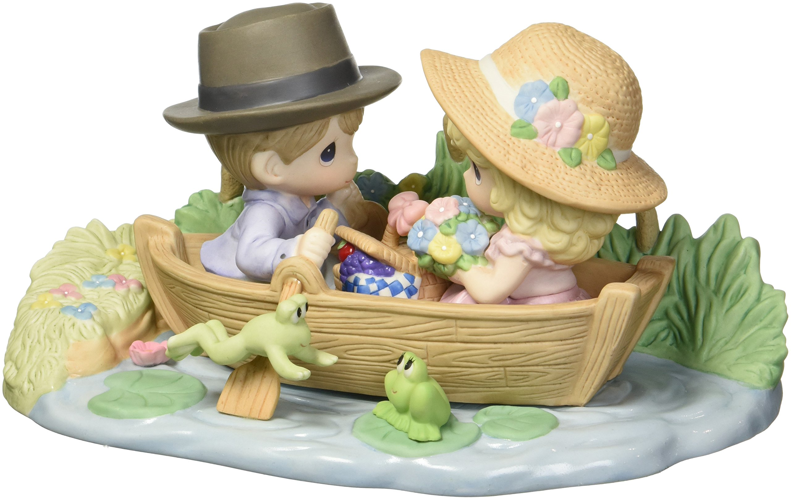 Precious Moments Limited Edition You Make My Heart Leap Couple in Row Boat Bisque Porcelain Home Decor Collectible Figurine 173002 by Precious Moments