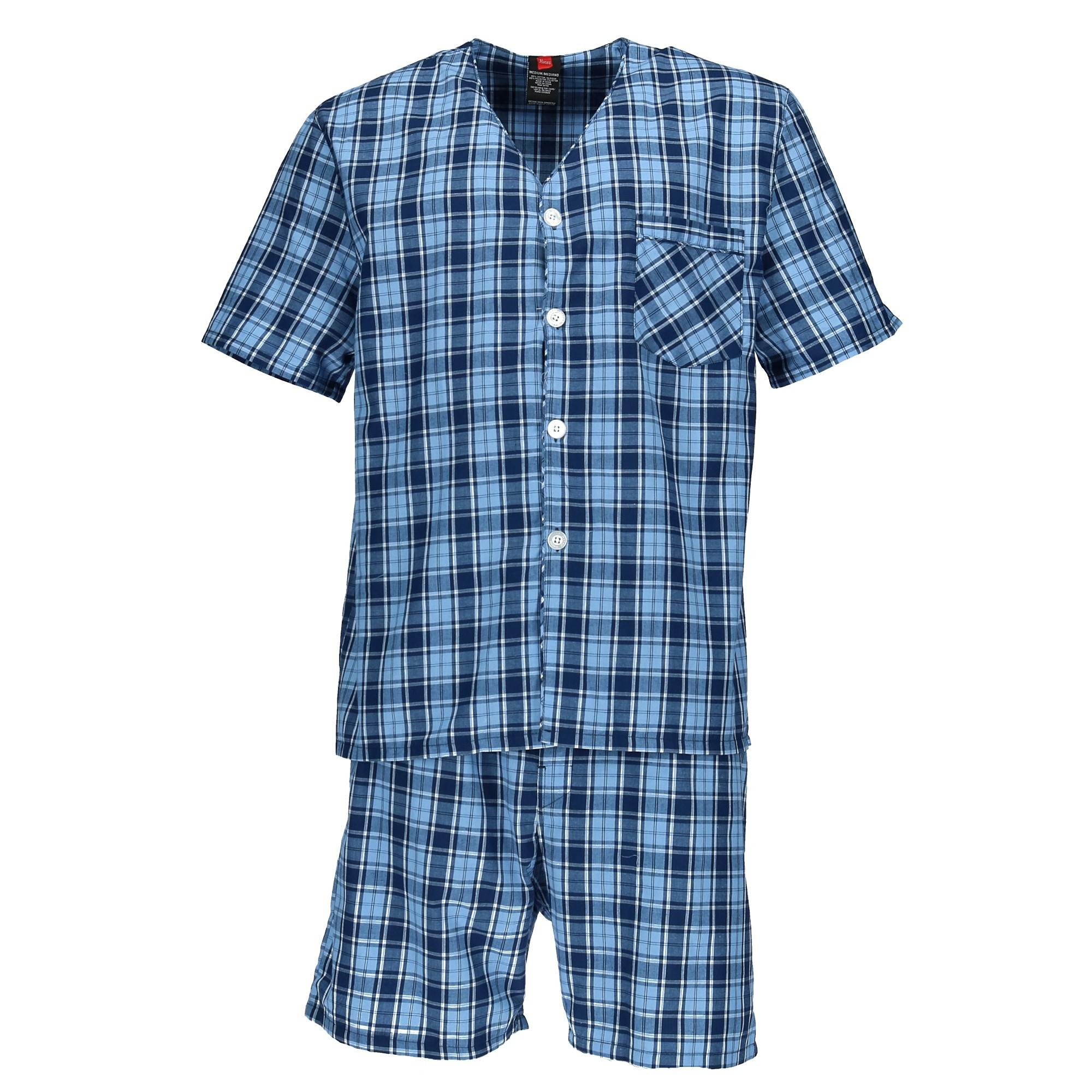 Hanes Men's Short Sleeve Short Leg Pajama Set, XL, Blue Plaid by Hanes