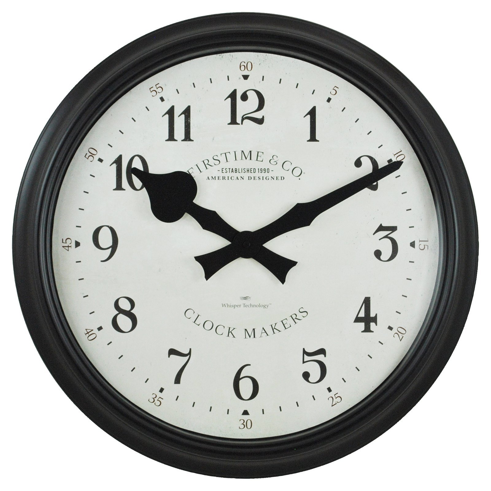 FirsTime 31020 Avalon Whisper Wall Clock, Black