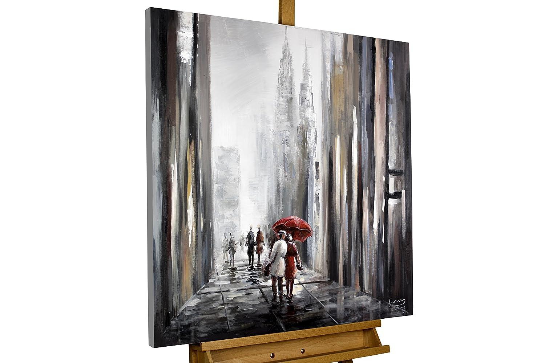 KunstLoft Dipinto in acrilico te al mio fianco' in 80x80cm | Tele originali manufatte XXL | Una coppia che passeggia, con uno skyline di città | Quadro da parete dipinto in acrilico arte moderna