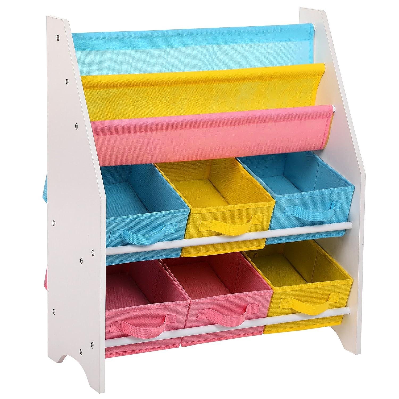 SONGMICS Kinderregal kleines Bücherregal Spielzeugregal weißes Aufbewahrungsregal mit bunten Aufbewahrungsboxen Kindermöbel 67 x 74 x 26, 5 cm (B x H x T) GKR36WT