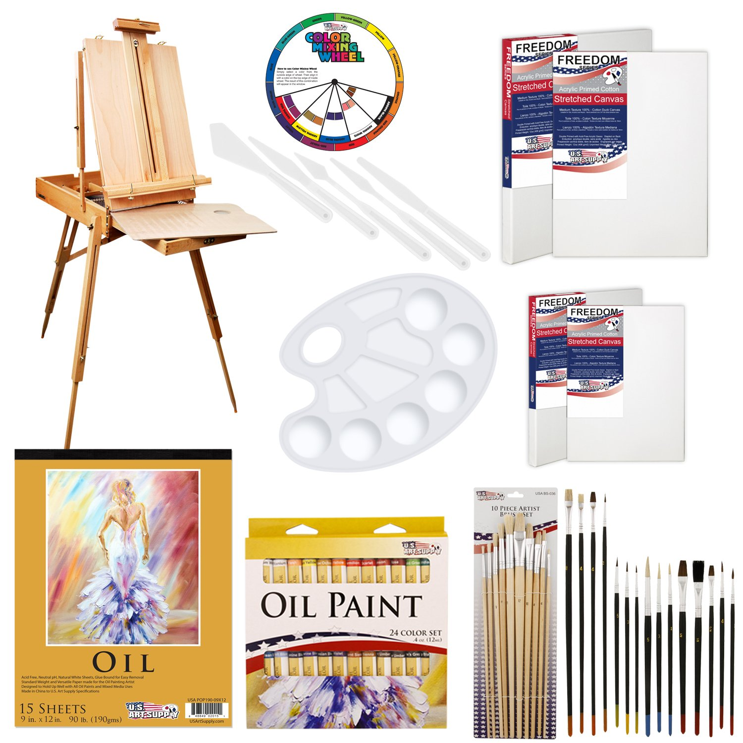 U.S. Art Supply 62 Piece Oil Artist Painting Kit with Wood French Easel, 24 Oil Paint Colors, 2-16''x20'' & 2-11''x14'' Stretched Canvases, 25 - Paint Brushes, Palette Knife Set, 10-Well Palette
