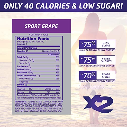 Amazon.com : X2 All Natural Sport Hydrating Energy Drink: Great Tasting Non-Carbonated Sports Energy Drinks with Coconut Water - 9 Grams of Sugar, ...
