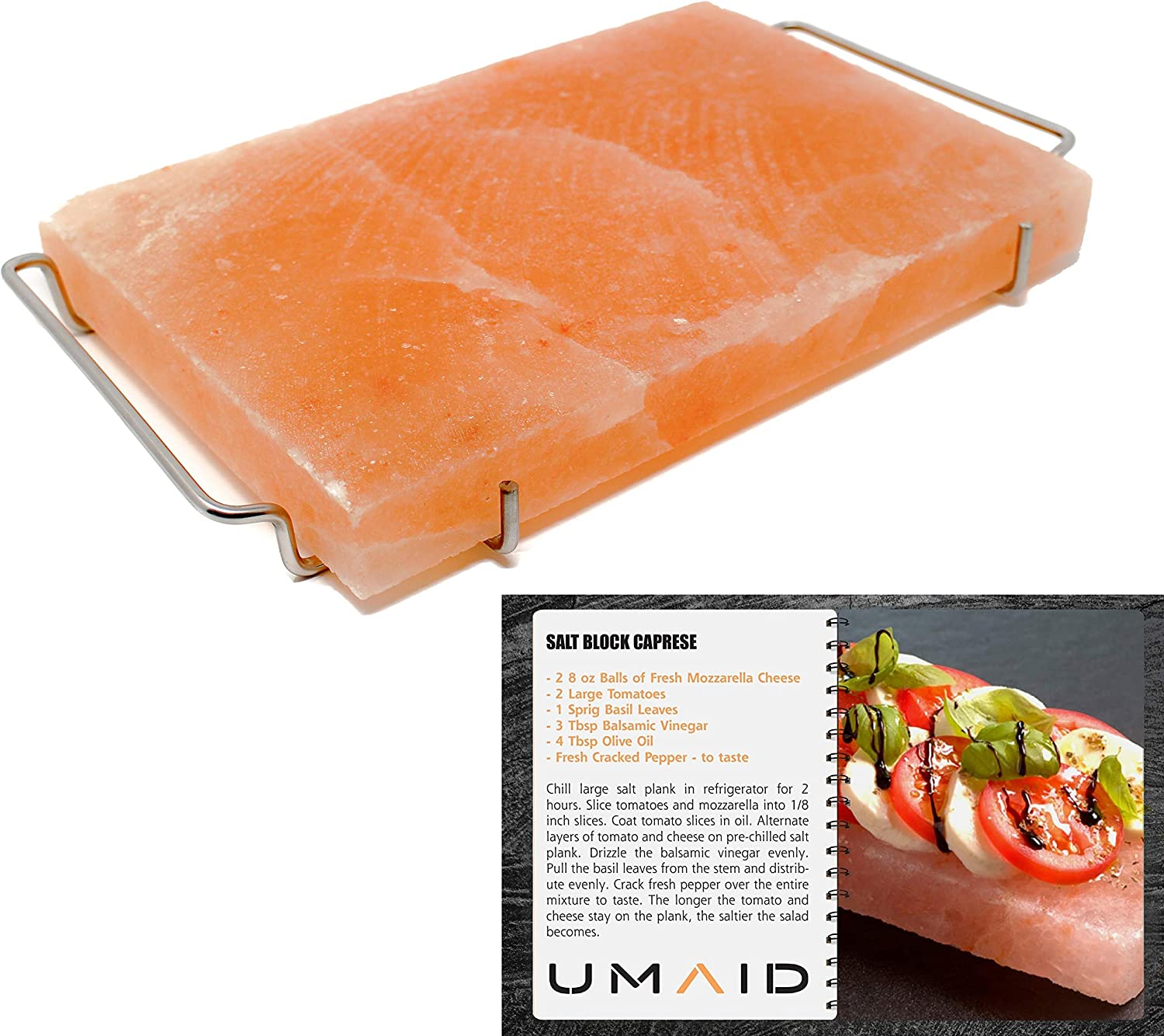 UMAID Natural Himalayan Salt Block Cooking Plate 12 X 8 X 1.5 for Cooking, Grilling, Cutting and Serving, Food Grade Salt with Stainless Steel Tray Set with Recipe Book