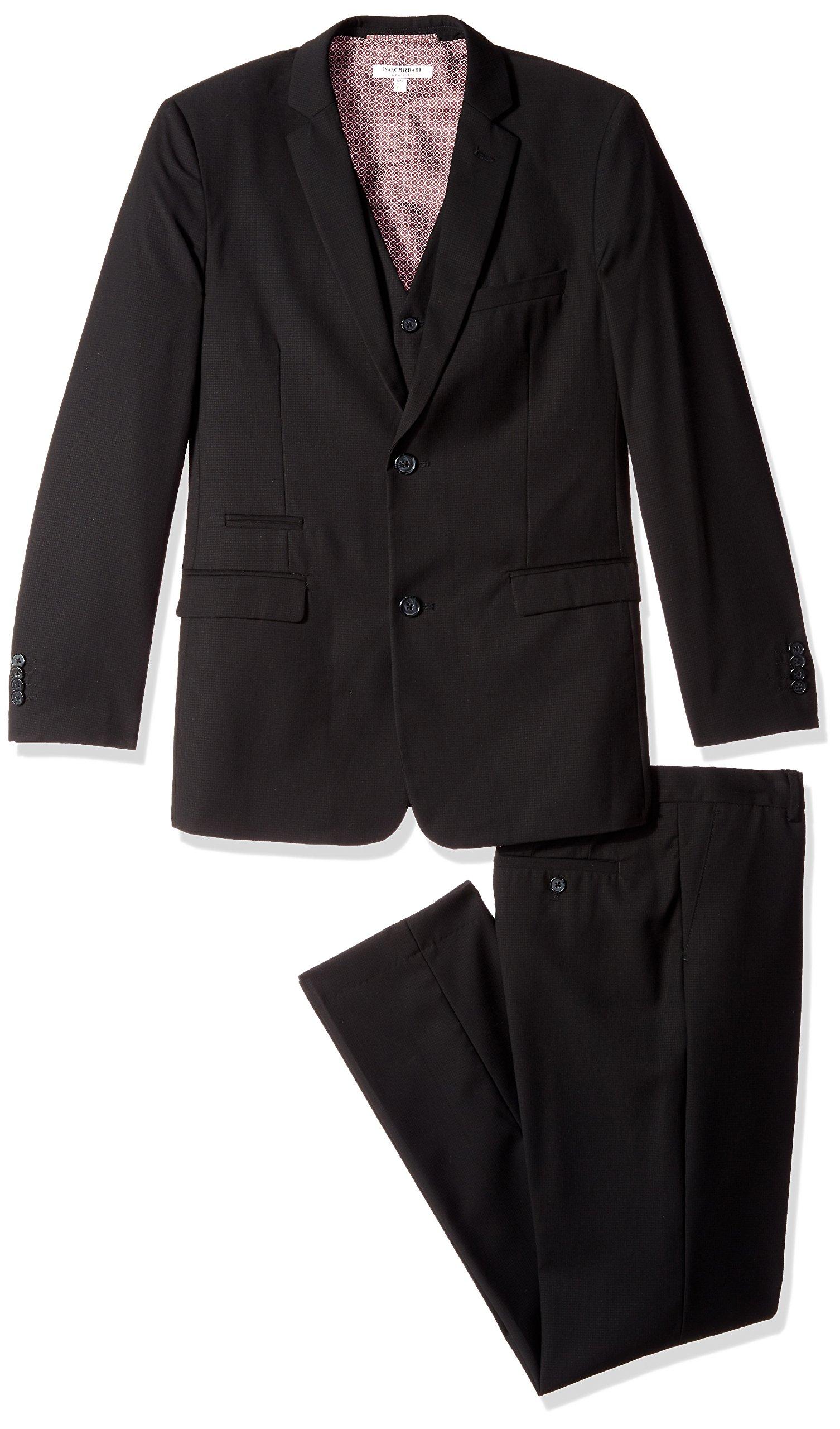 Isaac Mizrahi Big Boys' Textured 3pc Solid Suit, Black, 8
