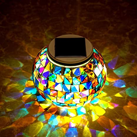 Amazon.com: Mosaico Solar de vidrio lámpara de mesa, WONFAST ...